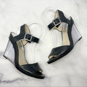 Michael Kors Clear Lucite Wedge Leather Sandals 9
